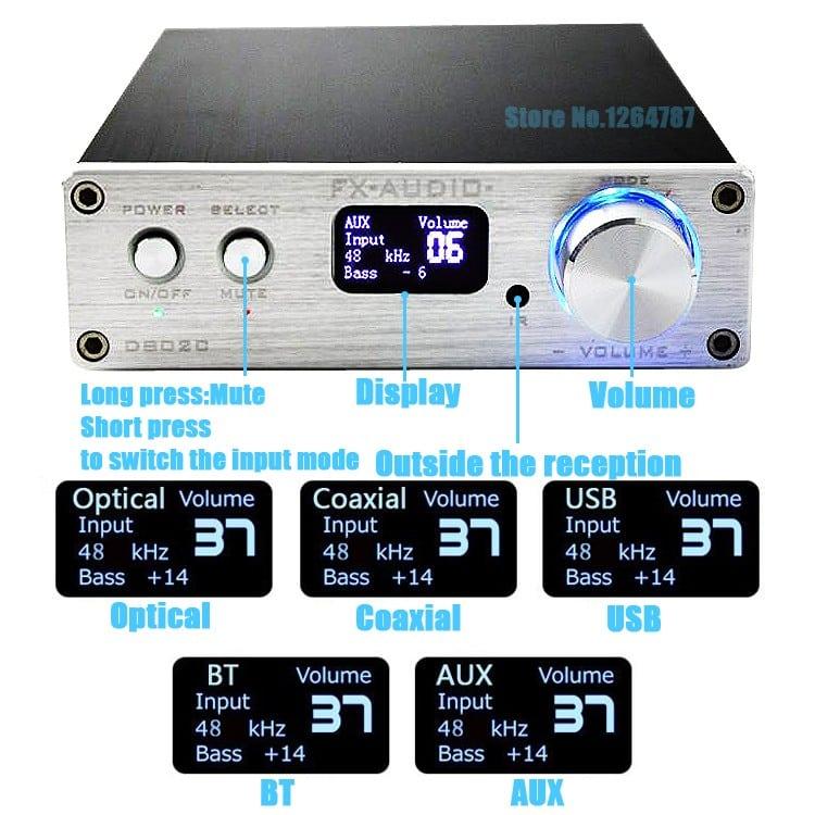 FX Audio D802C 80W*2 192KHz AUX/Coaxial/Optical/USB/Bluetooth Class D + Điều Kiển Từ Xa