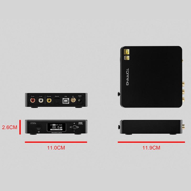 TOPPING D50s ES9038Q2M*2 DAC Bluetooth 5.0 LDAC D50 DSD512 32Bit/768kHz Hi-Res Audio